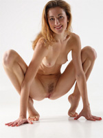 thin tiny girl sits like a frog and opened your skinny vagina!